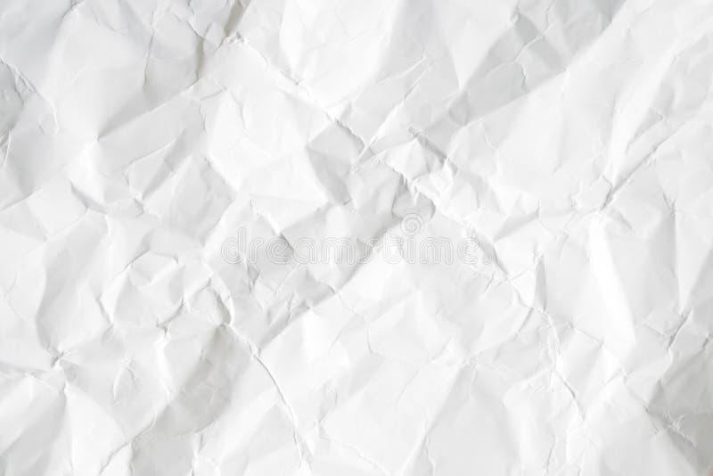 Papier chiffonné blanc vide, fond gris de texture photographie stock libre de droits