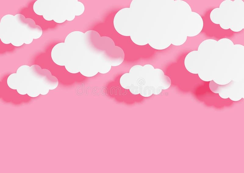 Papier chmurnieje na różowym nieba tle dla Twój projekta royalty ilustracja