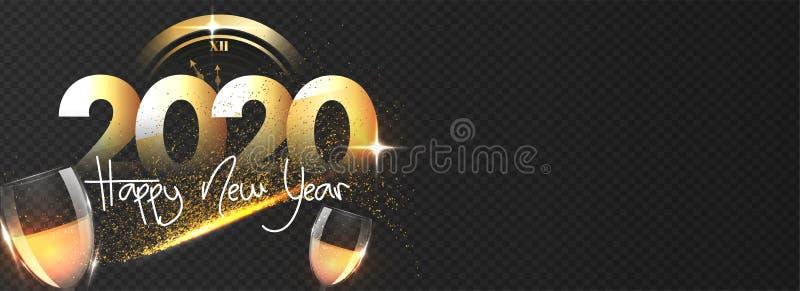 Papier ciąć tekst 2020 z okularami do wina, zegar i błyszczący efekt na czarnym tle png na święto Happy New Year Nagłówek lub ilustracja wektor