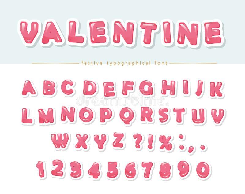 Papier ciąca out różowa dekoracyjna chrzcielnica Kreskówka ABC pisze list i liczby Doskonalić dla walentynki s dnia kart, śliczny ilustracji