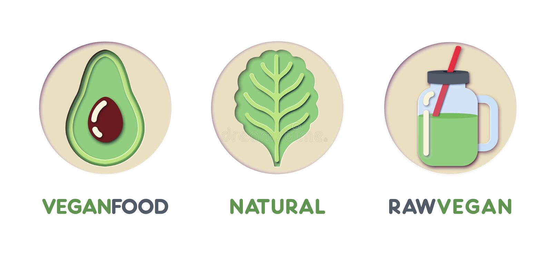 Papier Ciie Out loga szablon Ustawiającego z Eco Zielonym jedzeniem Origami łasowania Zdrowi symbole dla Oznakować, broszurka, to ilustracja wektor