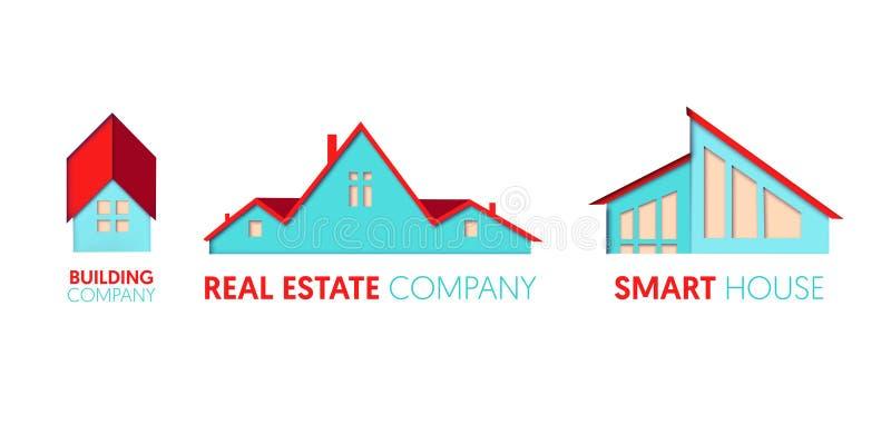 Papier Ciie Out loga szablon Ustawiającego z Intymnymi domami Origami Real Estate symbole dla Oznakować, broszurka, tożsamość royalty ilustracja