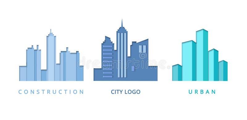 Papier Ciie Out loga szablon Ustawiającego z miasto budynkami Origami Real Estate symbole dla Oznakować, broszurka, tożsamość royalty ilustracja