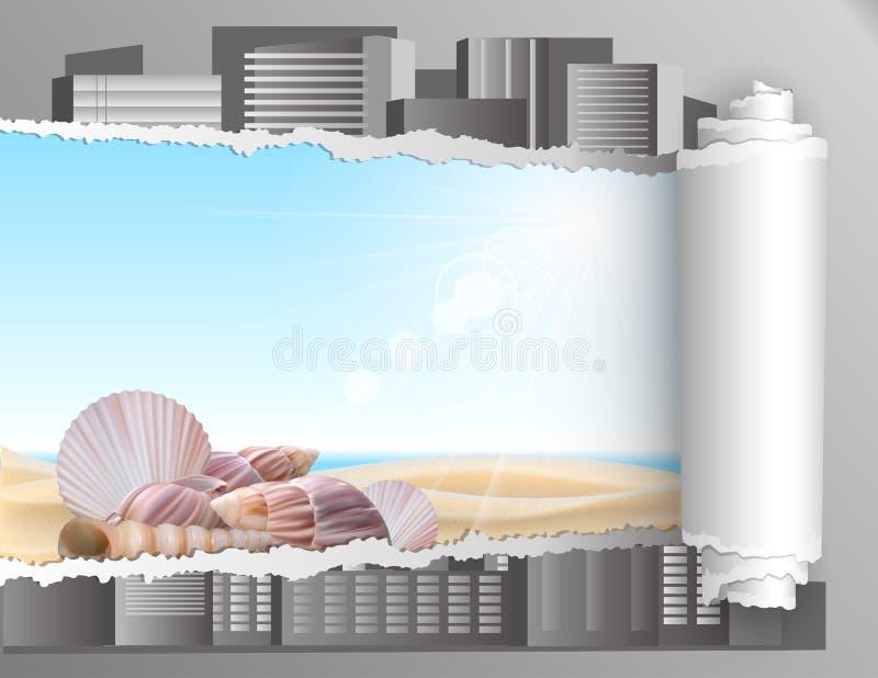 Papier déchiré avec le fond d'été. illustration stock