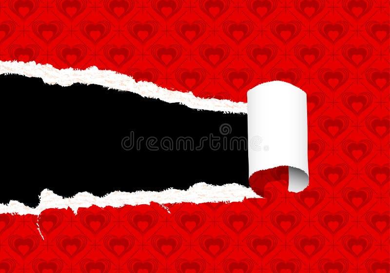 Papier déchiré de jour de Valentines illustration libre de droits