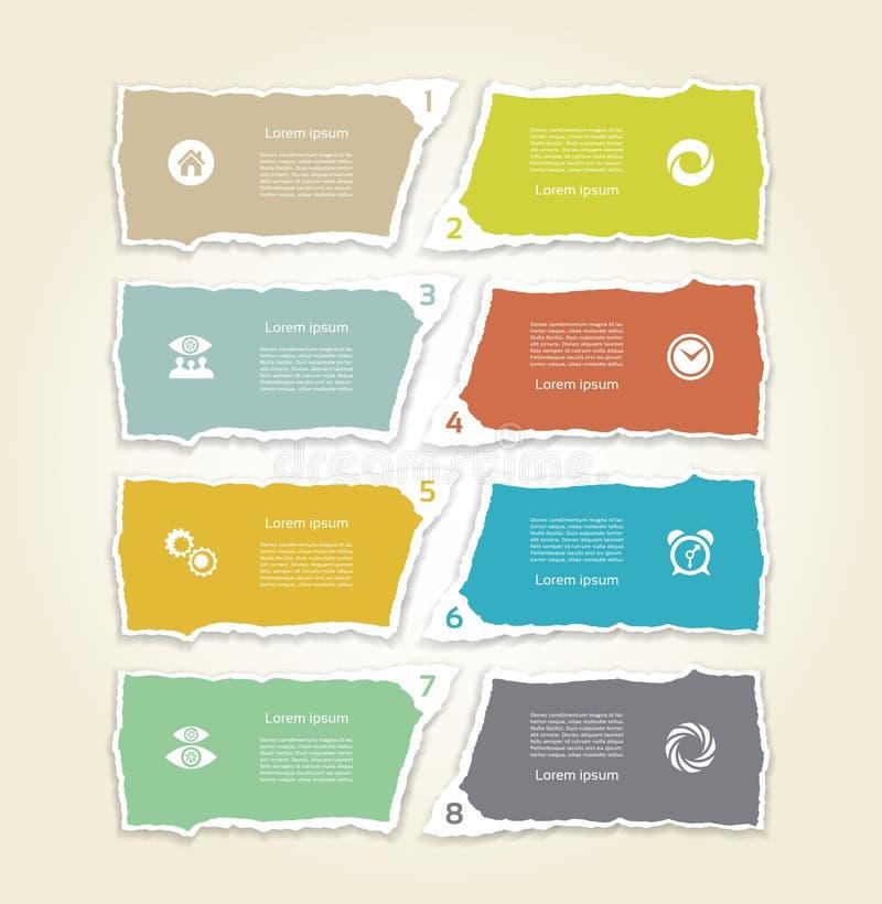 Papier déchiré moderne pour l'infographics Fond d'infographics de vecteur illustration libre de droits