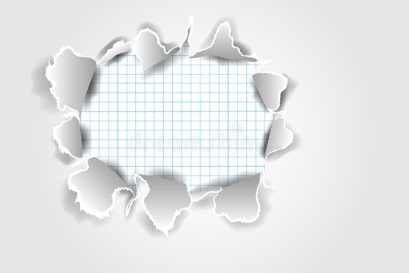 Papier déchiré par vecteur réaliste avec les bords déchirés avec l'espace pour le texte illustration stock