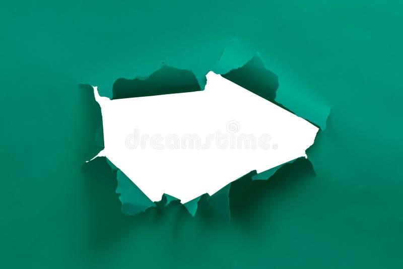 Papier déchiré par vert image stock