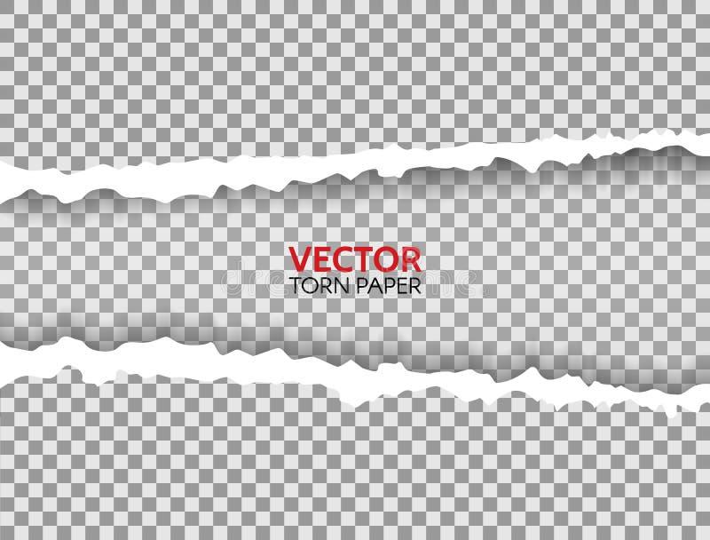Papier déchiré réaliste avec les bords déchirés et espace pour le texte Cadre déchiré de papier sur le fond transparent Texture d illustration libre de droits