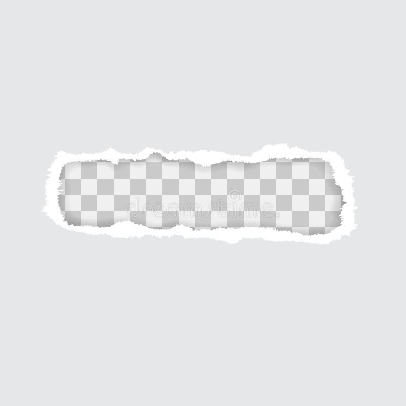 Papier déchiré transparent Illustration de vecteur avec des ombres illustration stock