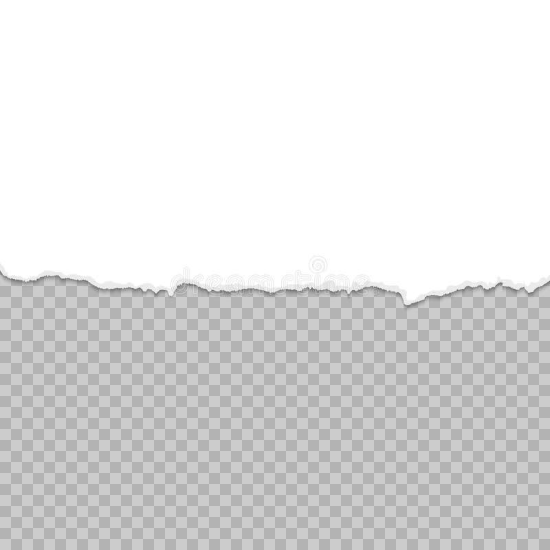 Papier déchiré une demi feuille Livre blanc déchiré de dessous Calibre de papier déchiré illustration libre de droits
