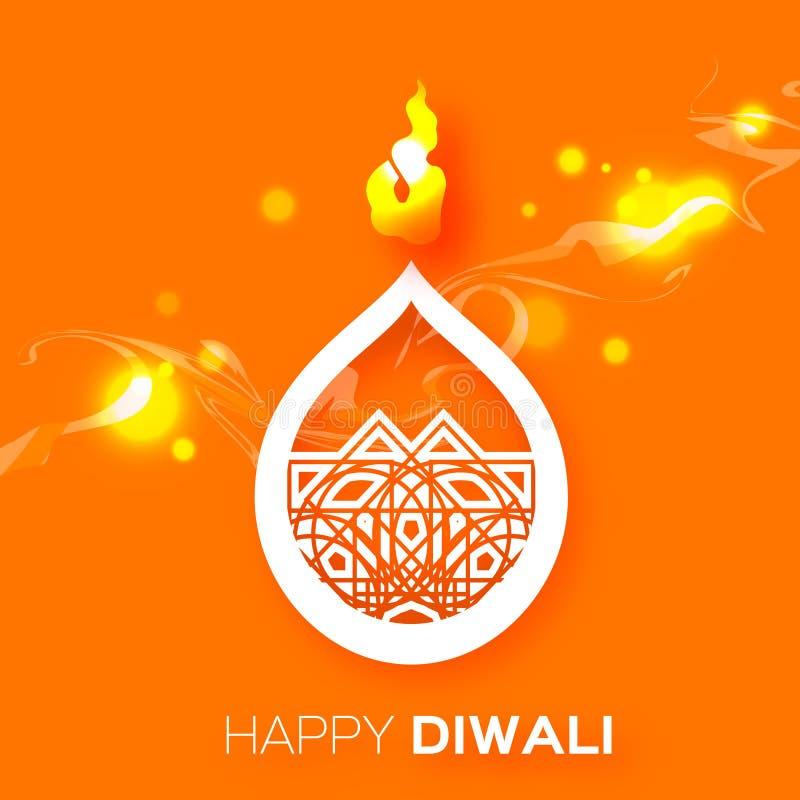 Papier décoratif Diwali Diya - conception de lampe à pétrole illustration de vecteur