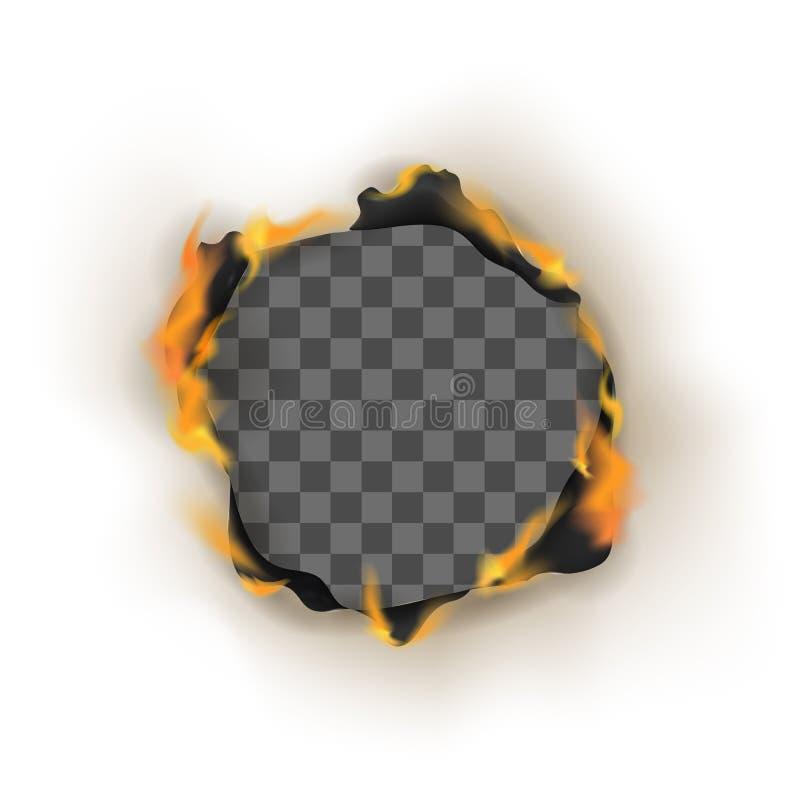 Papier détaillé réaliste de trou de la brûlure 3d Vecteur illustration de vecteur
