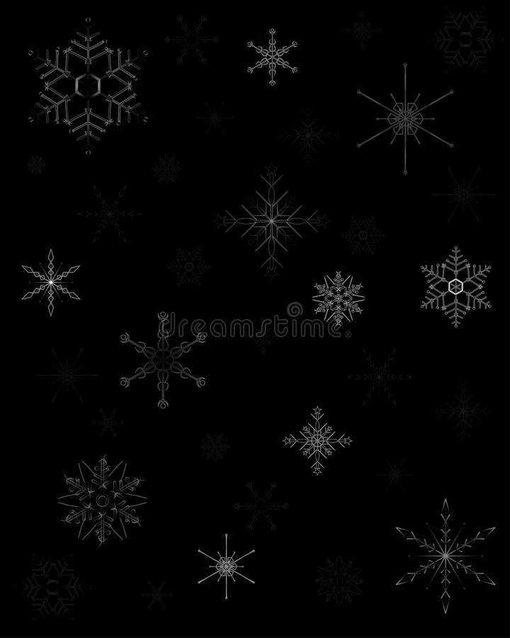 Papier d'emballage de Noël avec des étoiles de neige sur le fond foncé illustration libre de droits