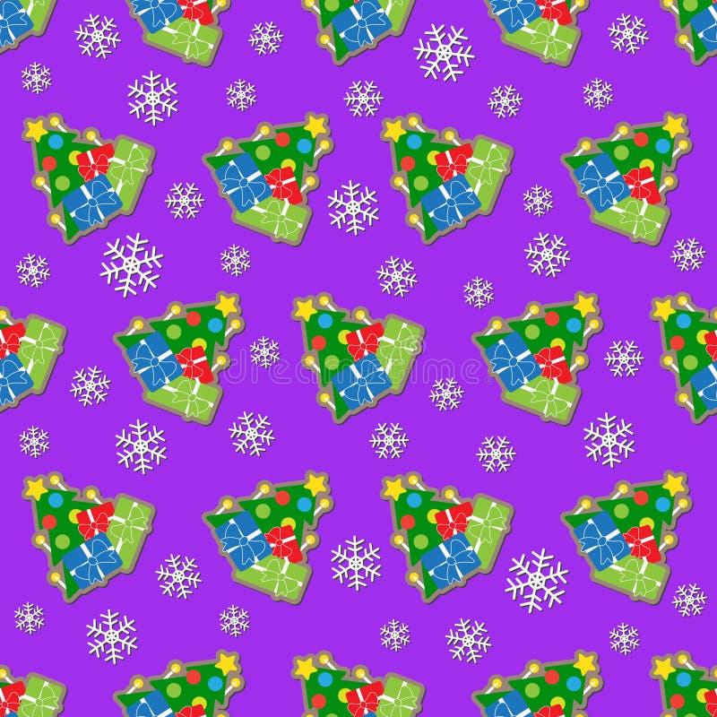 Papier d'emballage sans couture - arbres de Noël colorés illustration stock