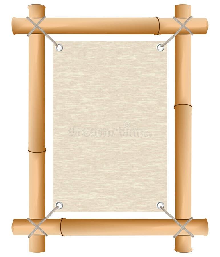 Papier dans une trame d'un bambou photographie stock