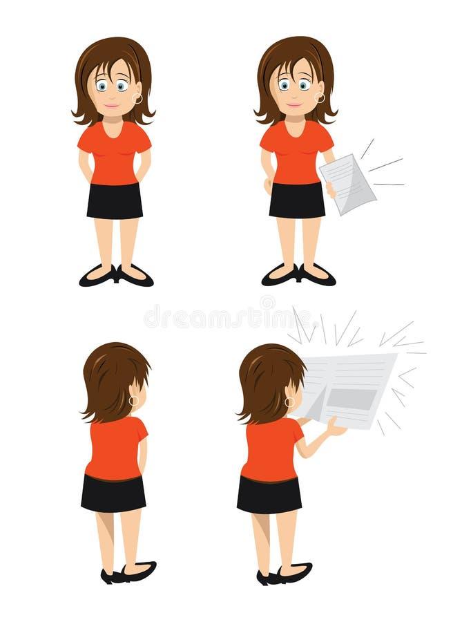Papier de Brunette de femme illustration stock