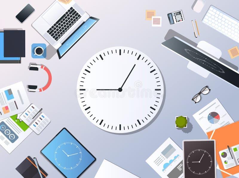Papier de bureau d'horloge d'écran de comprimé de smartphone d'ordinateur portable de vue d'angle supérieur de concept de synchro illustration stock