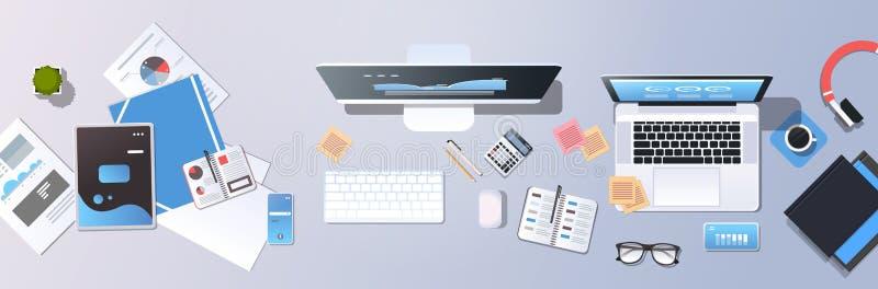 Papier de bureau réussi d'écran de comprimé de smartphone d'ordinateur portable de vue d'angle supérieur de procédé de travail d' illustration de vecteur
