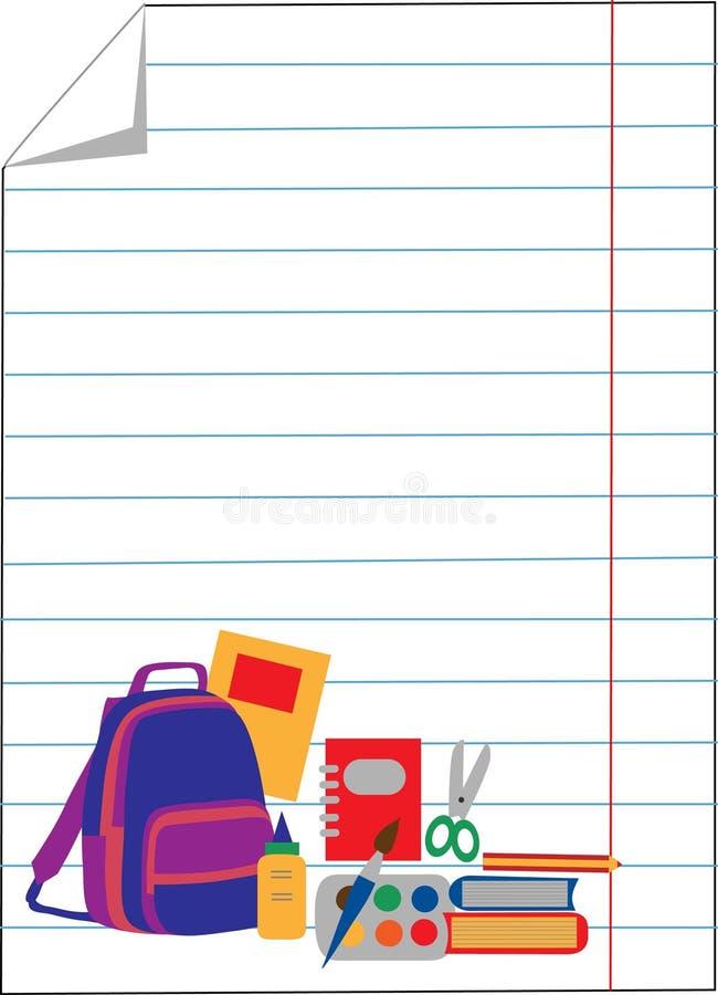 Papier de cahier avec des accessoires d'école illustration de vecteur