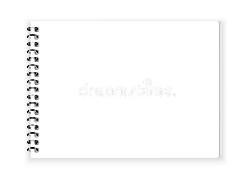Papier de carnet de notes à spirale sur le vecteur blanc de fond illustration stock
