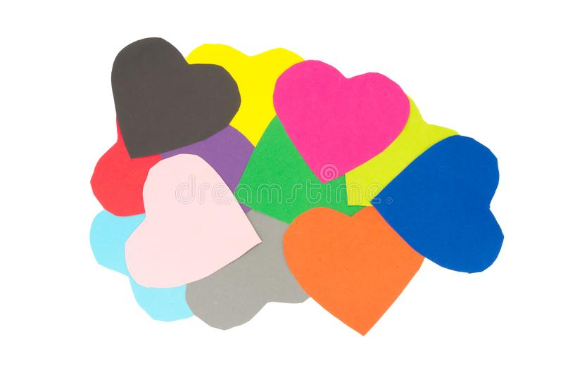 Papier de coeur pile superposition coloré D'isolement sur le backgrou blanc images stock