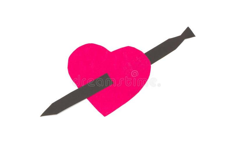 Papier de coeur Rouge D'isolement sur le fond blanc images libres de droits