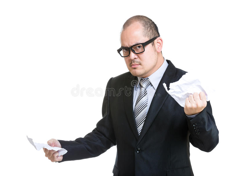 Papier de contrat de larme d'homme d'affaires photographie stock libre de droits