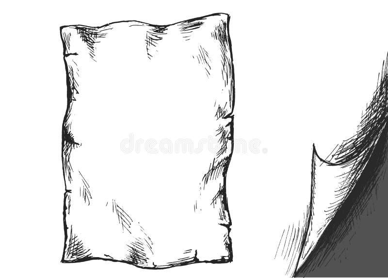 Papier de croquis de main vieux et coin plié illustration stock