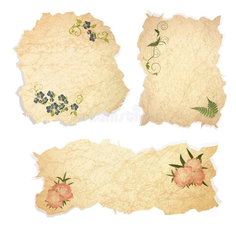Papier de cru avec floral illustration stock