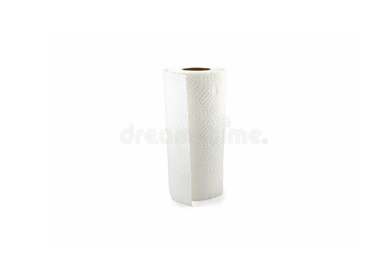 Papier de cuisine, blanc, clair, vide, papier de cuisine sur le fond blanc photos stock
