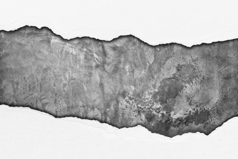 Papier de déchirure sur le mur grunge de ciment photographie stock libre de droits