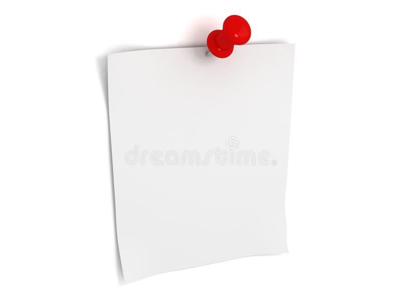 Papier de note avec la broche rouge illustration stock