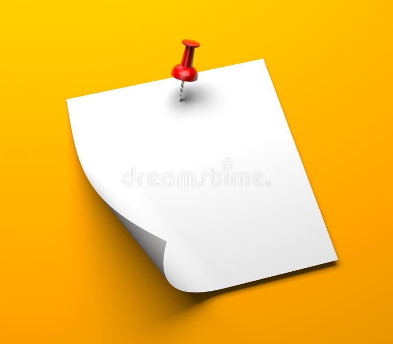 Papier de note avec la goupille illustration de vecteur