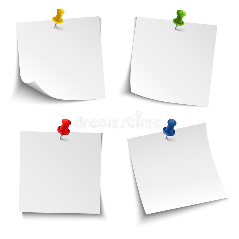 Papier de note avec la goupille colorée de poussée illustration libre de droits