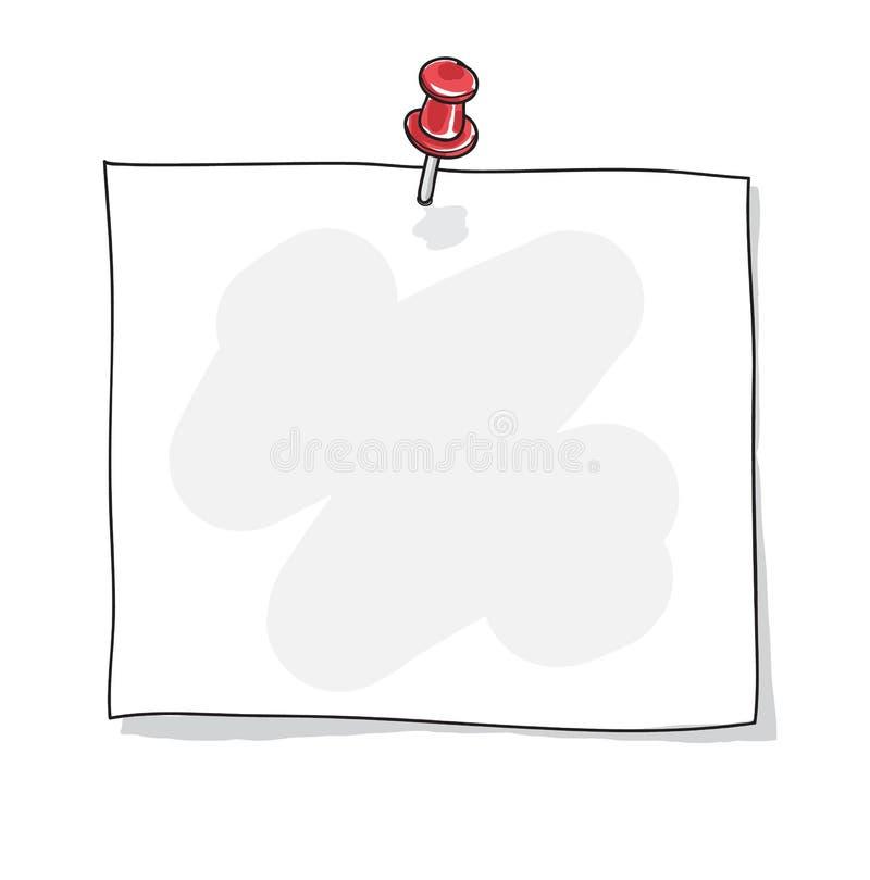 Papier de note avec un illustratio tiré par la main d'art de vecteur de goupille rouge de poussée illustration libre de droits