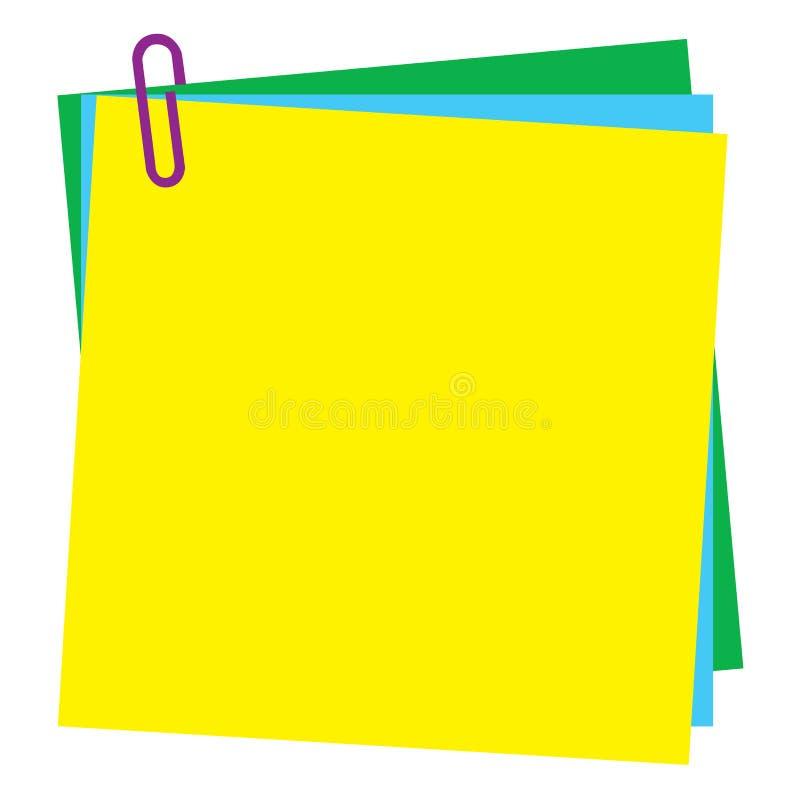 Papier de note blanc de post-it avec le trombone illustration stock