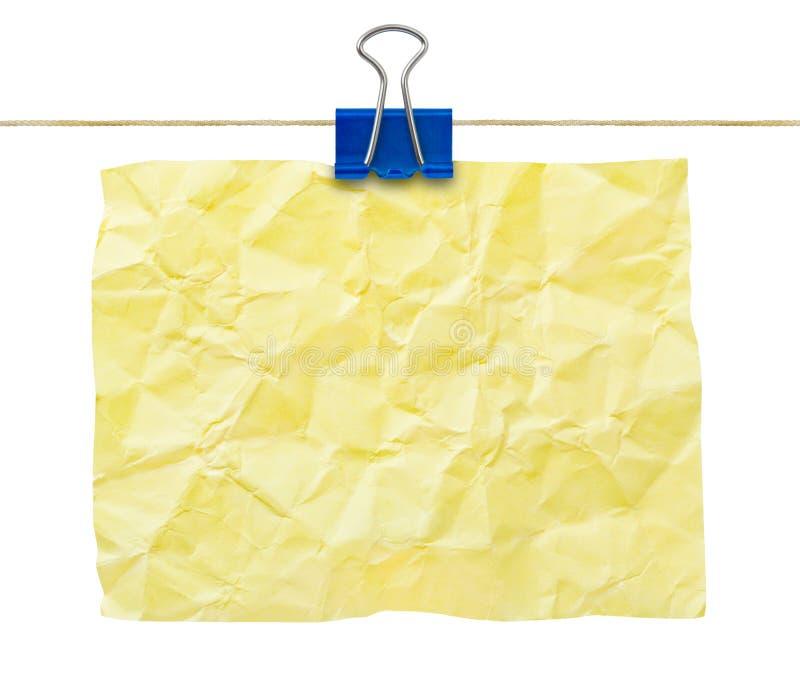 Papier de note chiffonné par jaune image libre de droits