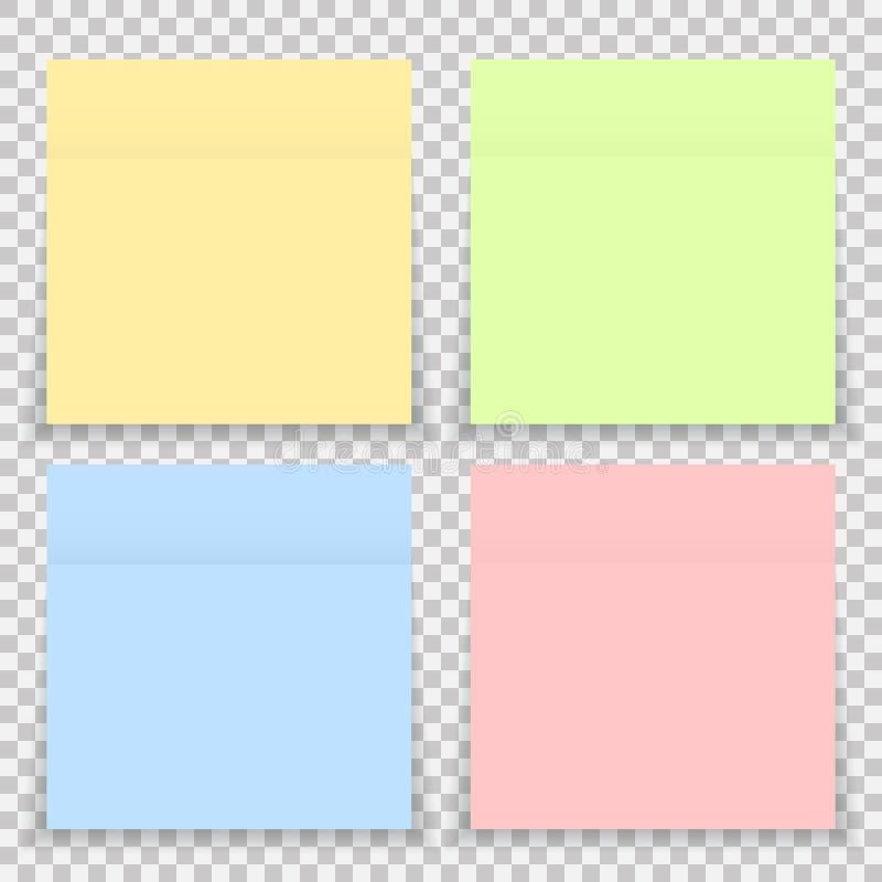 Papier de note coloré d'autocollant de bureau de vecteur d'isolement illustration stock
