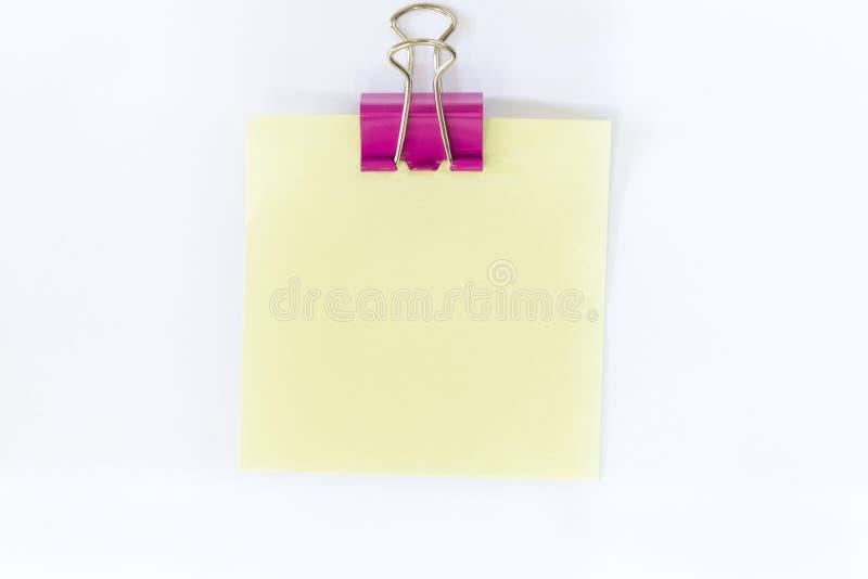Papier de note et agrafe de reliure pour la note photo stock