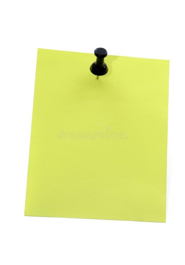 Papier de note jaune avec la punaise photos stock