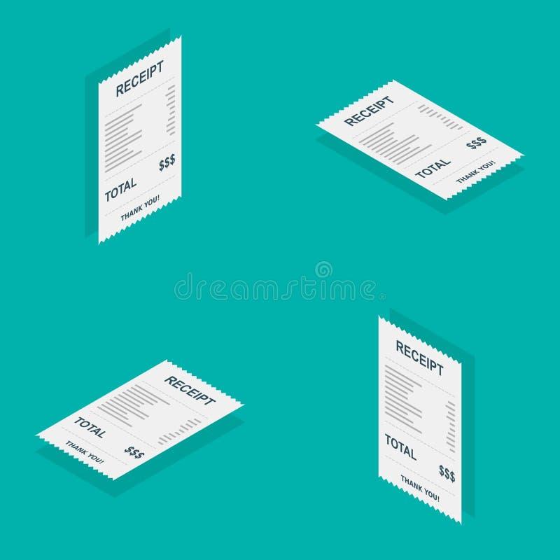 Papier de reçu, isométrique, contrôle de Bill, facture, reçu en espèces, paiement d'utilité, vecteur, icône plate illustration de vecteur