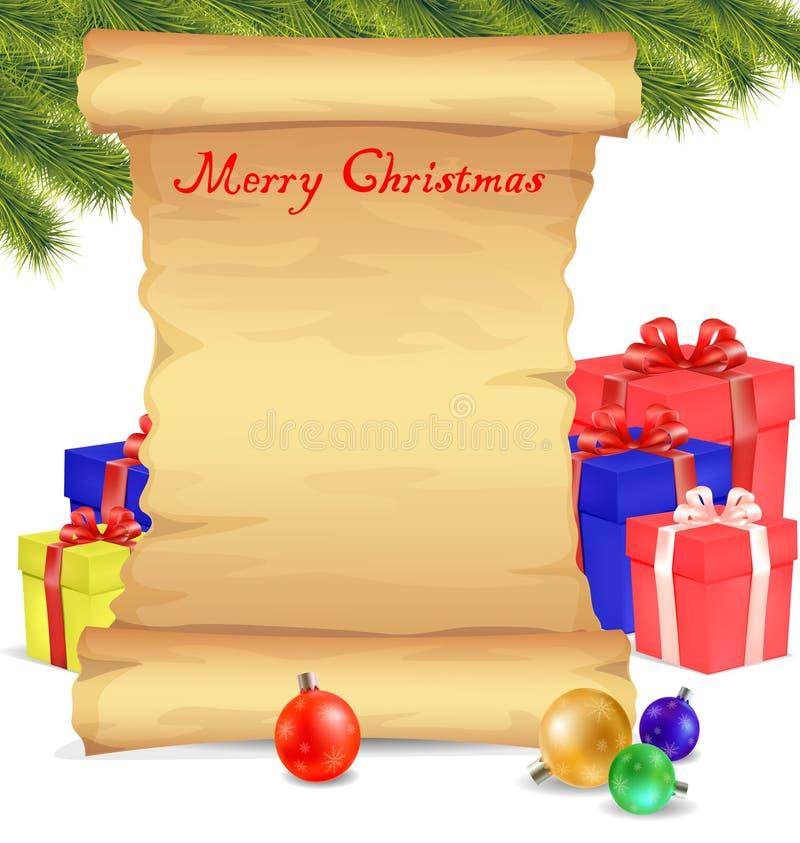 Papier de rouleau de blanc de Joyeux Noël sur le fond blanc illustration de vecteur