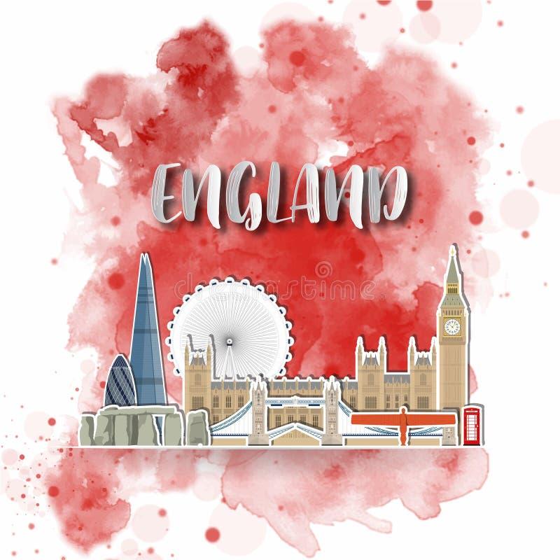 Papier de silhouette de l'Angleterre sur l'aquarelle d'éclaboussure en couleurs de drapeau global Descripteur de conception de ve illustration libre de droits