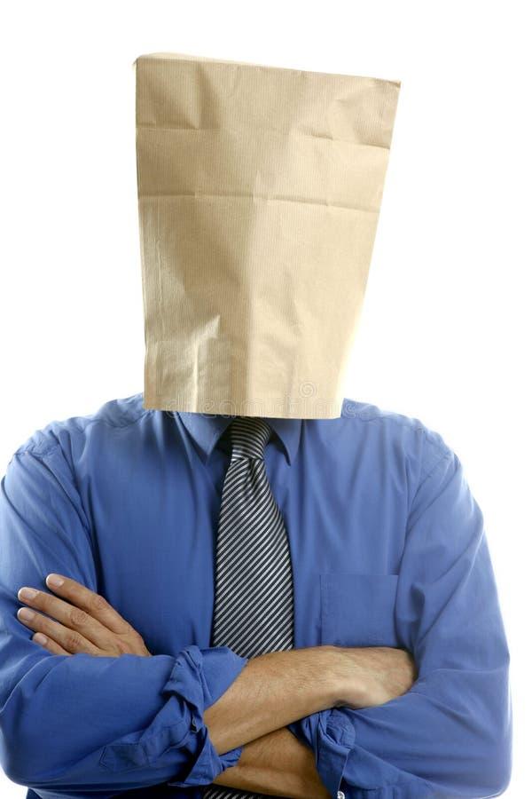 papier de tête d'homme d'affaires de sac photos libres de droits