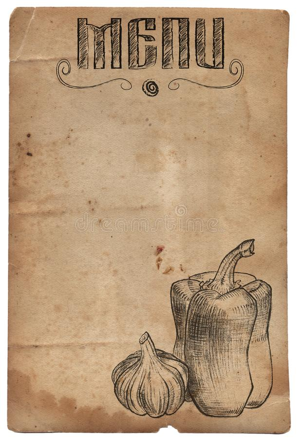 Papier de vintage avec le poivre et l'ail tirés par la main Le dîner de mariage avec de la viande de roulis a fumé et des tomates illustration libre de droits