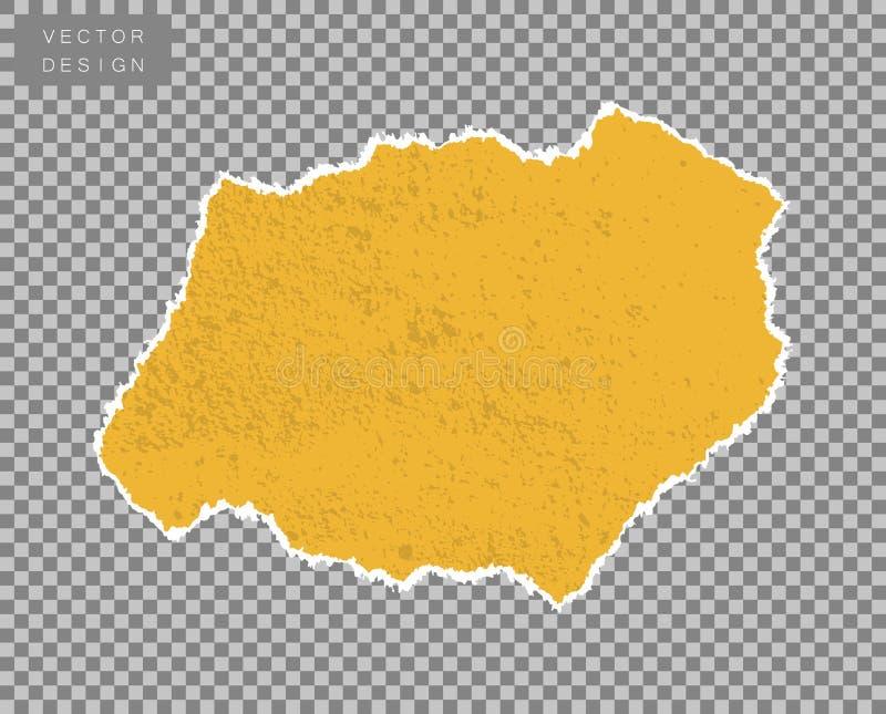 Papier Ein Stück, ein Schrott aus Gelb mit der Wirkung von Schüff, Alter, Grunge Vector-Objekt auf isoliertem transparenten Hinte lizenzfreie abbildung