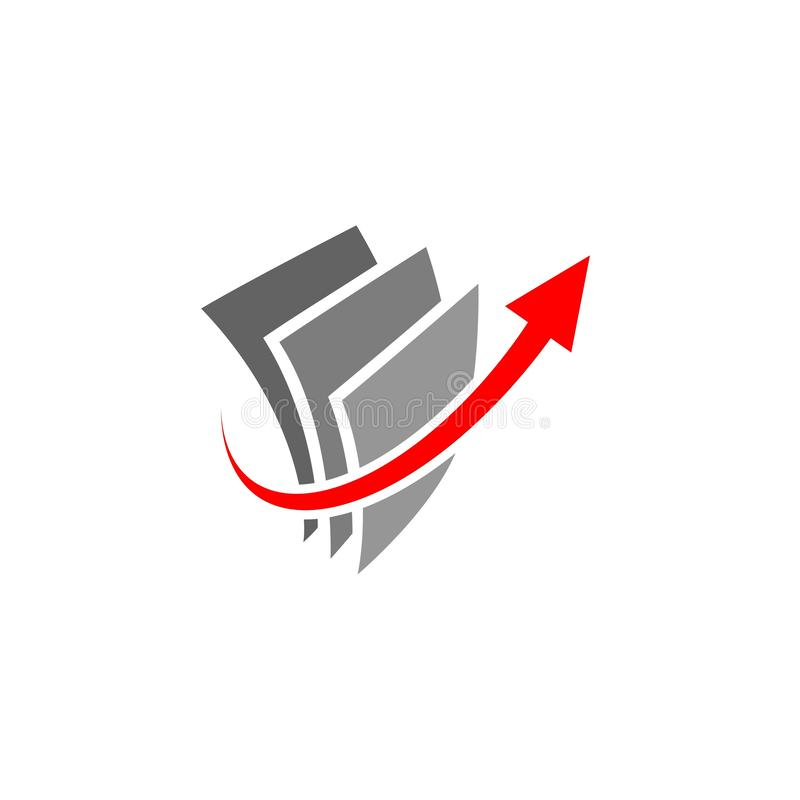 Papier et flèche vers le haut de Logo Icon illustration de vecteur