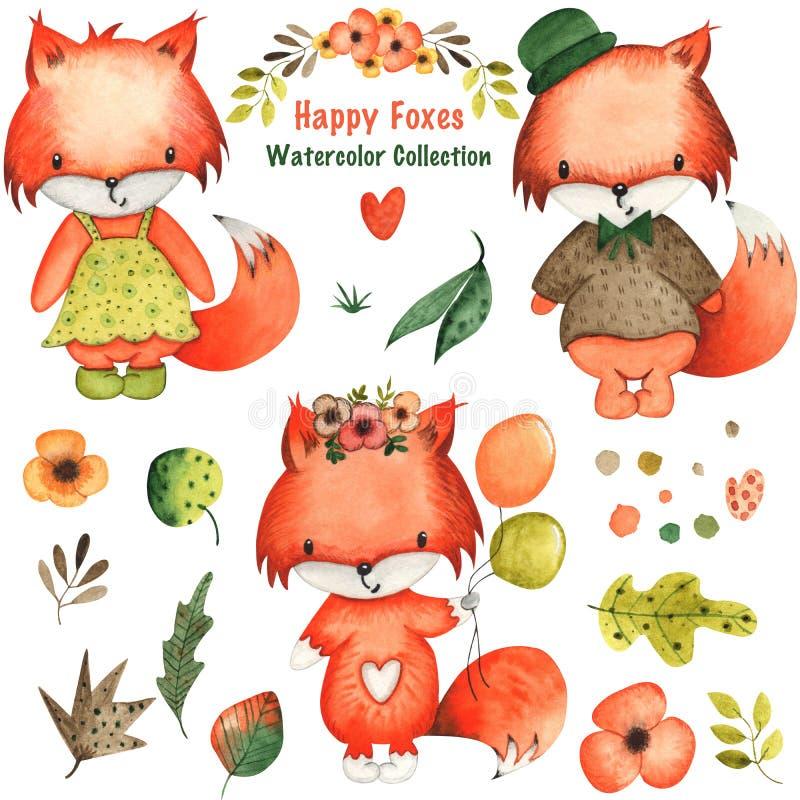 Papier et tissu tirés par la main de Digital de fond de feuilles, de fleurs et de renards d'aquarelle illustration stock