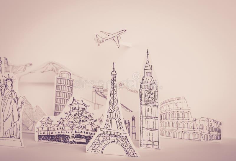 Papier geschnitten (Japan, Frankreich, Italien, New York, Indien, Ägypten) ( lizenzfreie stockbilder